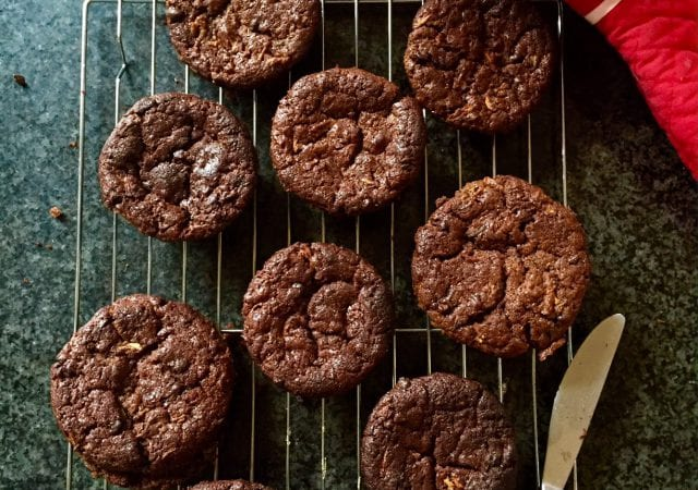 Chocolate muffins with zucchini and carrot