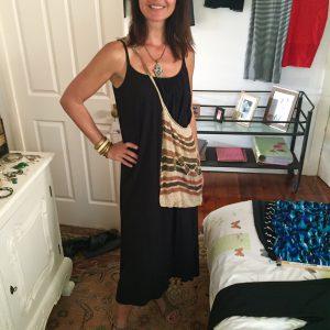 Casual black dress made beachy
