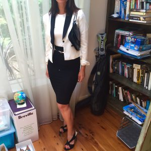 Corporate look with white jacket