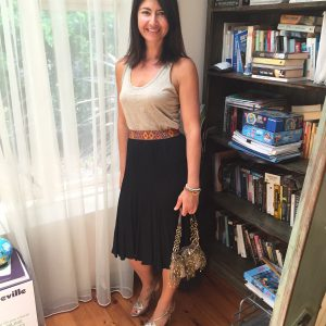 Dotti skirt, gold singlet, dressed up
