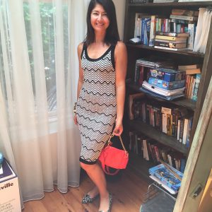 Missoni for T dress, red bag, animal flats